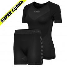 PAKET - ženski bešavna kratka majica hmlFIRST + bešavne kratke hlače hmlFIRST
